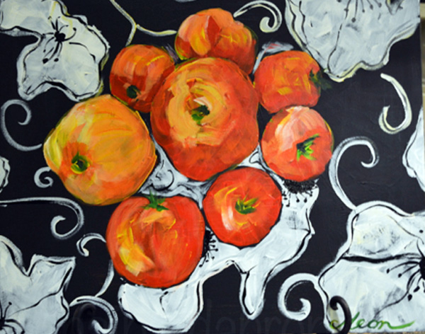 tomatoes in a black and white bowl thepaintedapron.com