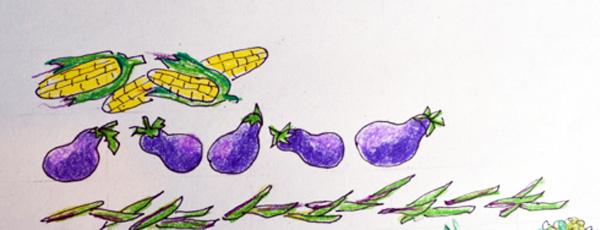 corn, eggplant beans thepaintedapron.com
