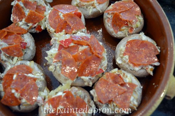 mushroom pizza poppers thepaintedapron.com