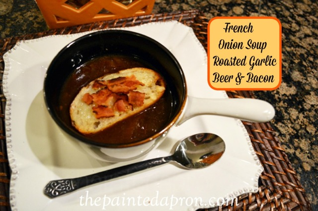 Roasted garlic and onion soup with beer and bacon thepaintedapron.com