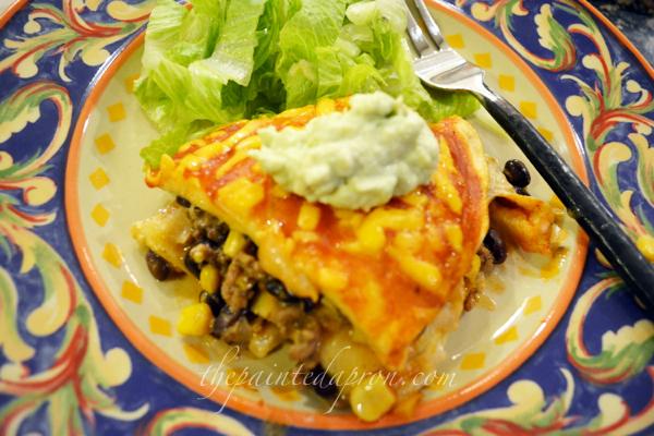enchilada pie with avocado creme thepaintedapron.com