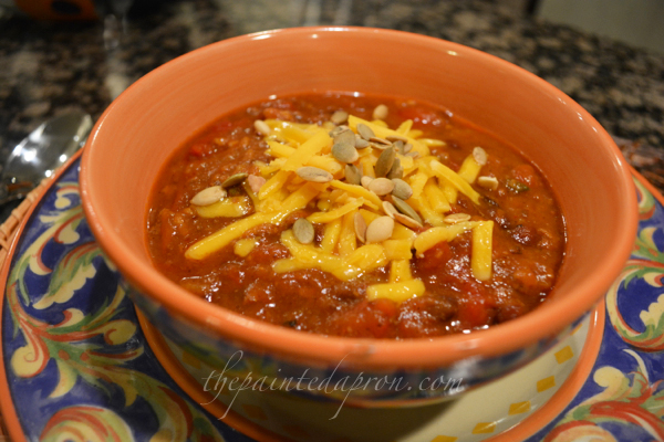 loaded pumpkin chili thepaintedapron.com