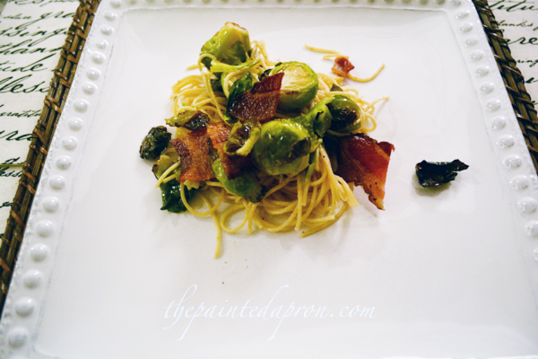 pasta with brussels sprouts and bacon thepaintedapron.com