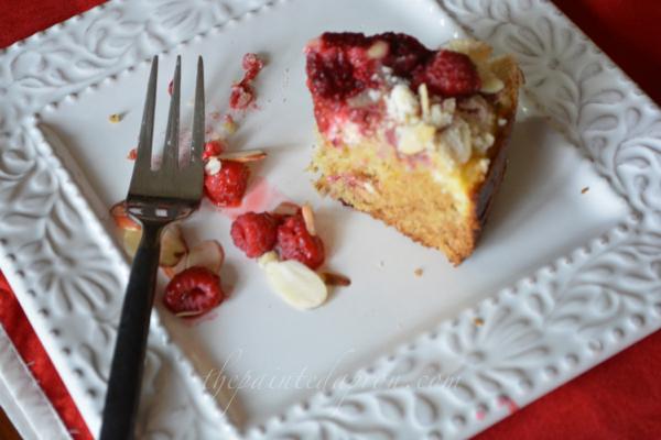 raspberry orange almond cake thepaintedapron.com