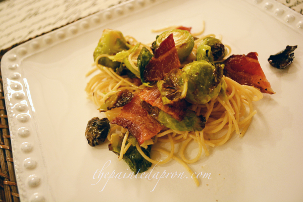 roasted bacon and brussels sprout pasta thepaintedapron.com