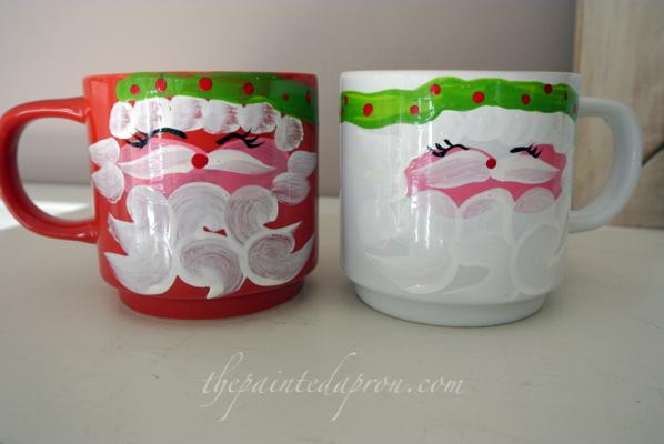 Santa mugs thepaintedapron.com
