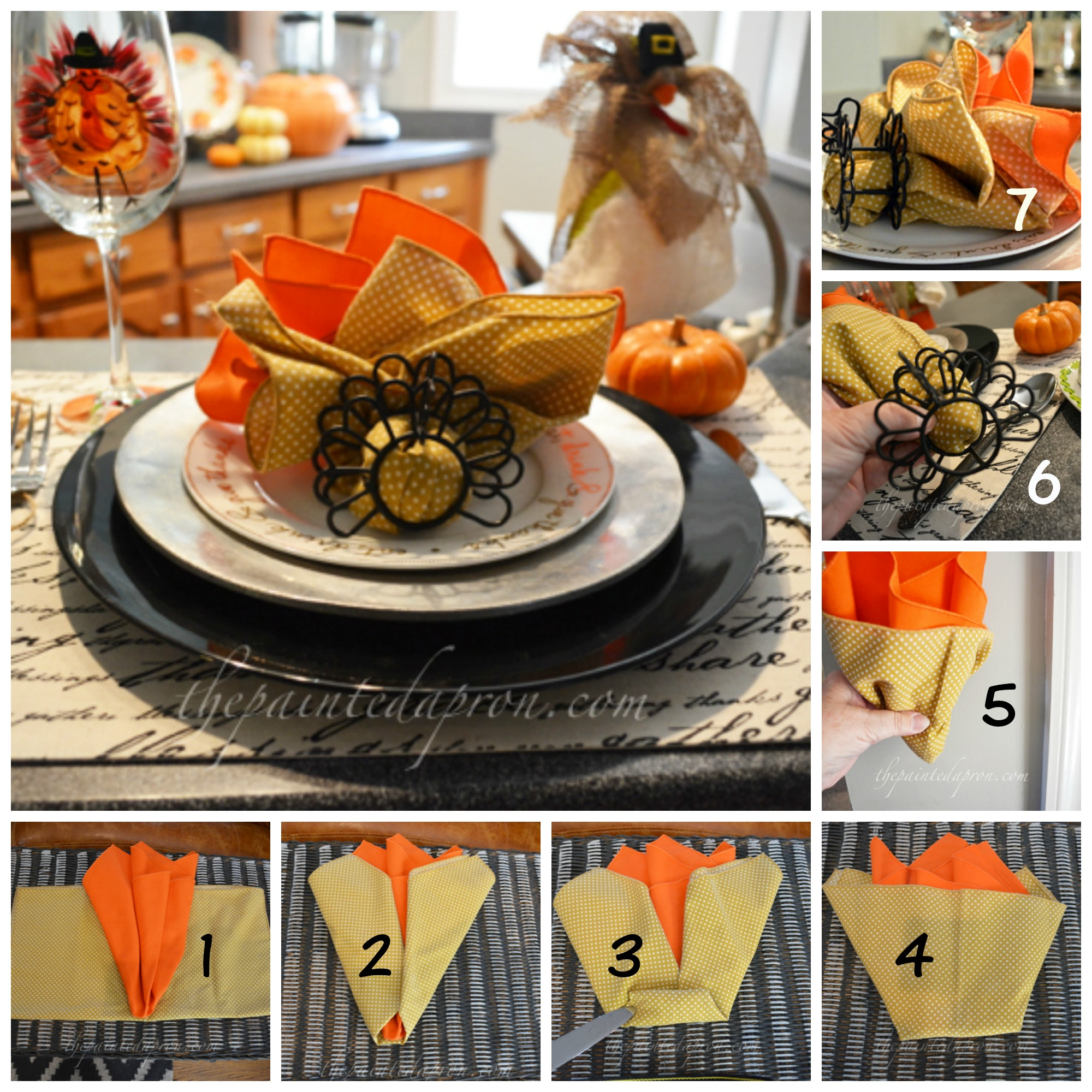 Tablescapes early thanksgiving turkey napkin fold the for How to fold napkins into turkeys