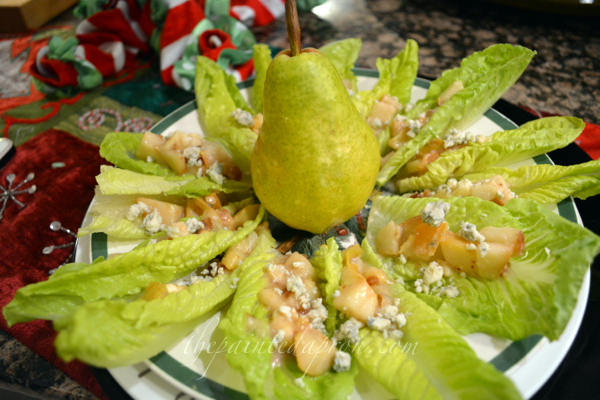 romaine cups with pear and blue thepaintedapron.com