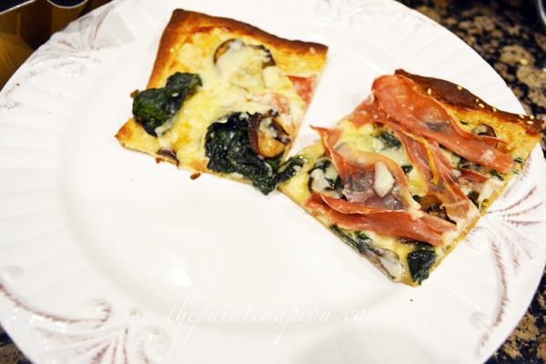 prosciutto, mushroom and spinach pizza thepaintedapron.com