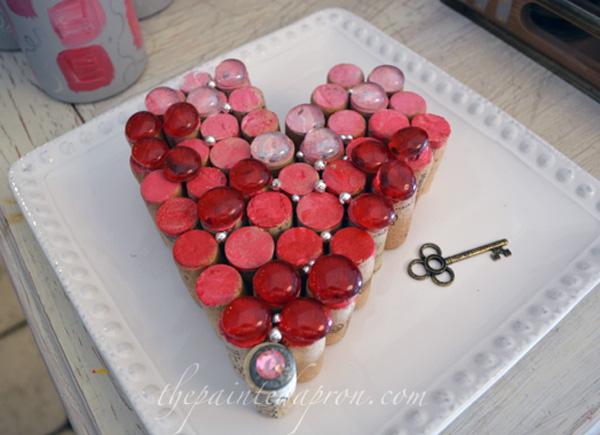 Valentine cork heart thepaintedapron.com