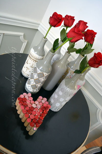 Valentine vases thepaintedapron.com