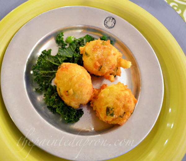 panfried kale and hushpuppies thepaintedapron.com
