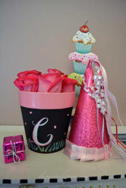 birthday flower pot thepaintedapron.com