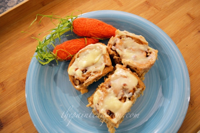 carrot cake rolls with maple glaze 1 thepaintedapron.com