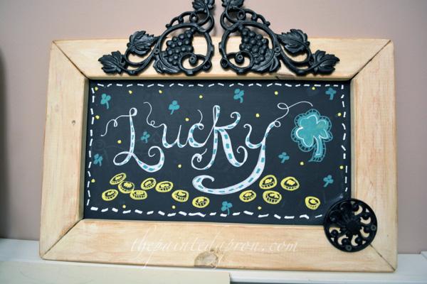 Lucky chalkboard thepaintedapron.com