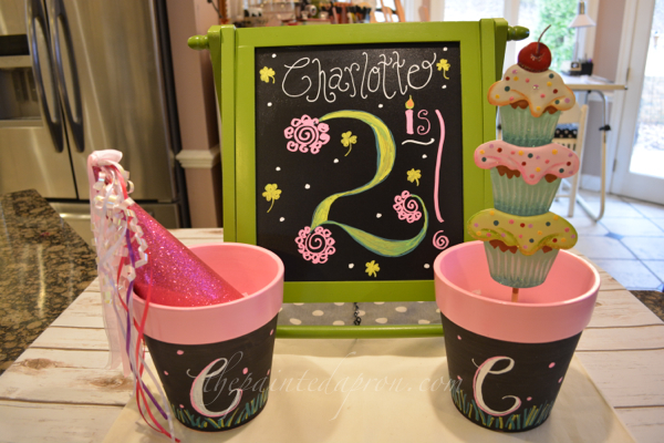 pink and green chalkboard birthday thepaintedapron.com