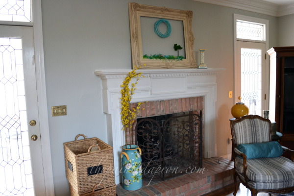 spring fireplace thepaintedapron.com