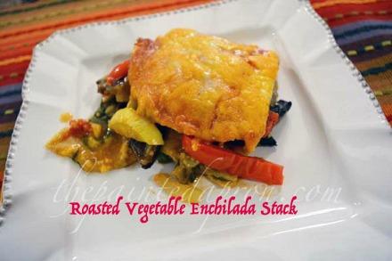roasted vegetable enchilada bake thepaintedapron.com
