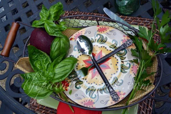 basil garnished tray thepaintedapron.com