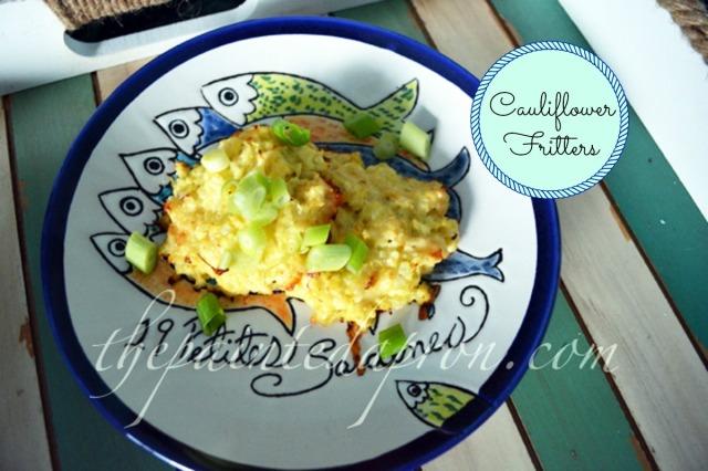 cheesy cauliflower fritters thepaintedapron.com