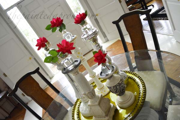 flower topped candlesticks thepaintedapron.com