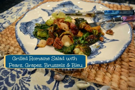 romaine salad with pears, grapes brussels & bleu thepaintedapron.com