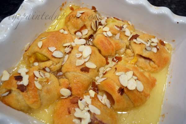 almond peach dumplings thepaintedapron.com