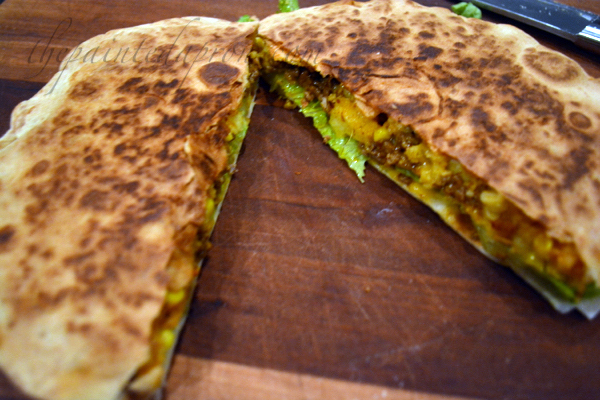 beef and corn bake quesadilla thepaintedapron.com
