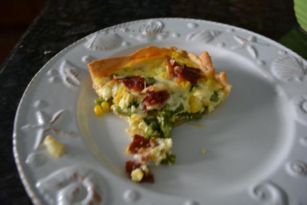 corn, bacon and asparagus tart thepaintedapron.com