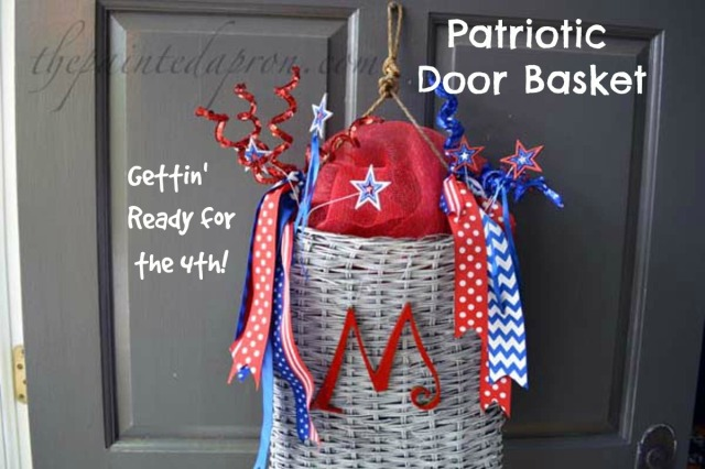 red white and blue door basket thepaintedapron.com
