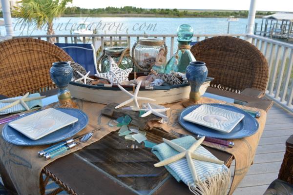 sea shell boat table thepaintedapron.com