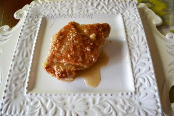sugar crusted peach dumpling thepaintedapron.com