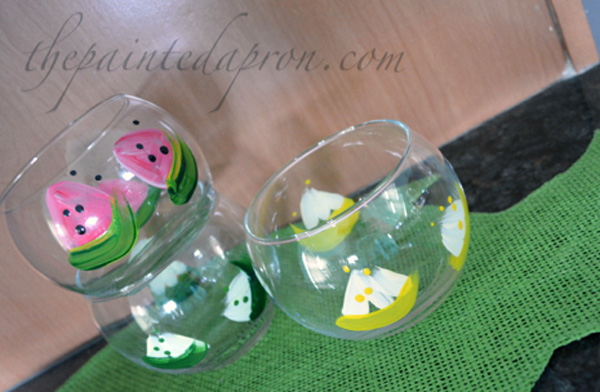 watermelon and citrus glasses thepaintedapron.com