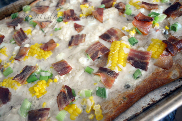 bacon and corn pizza thepaintedapron.com