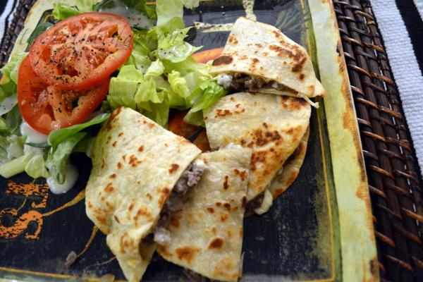 bleu cheese burger quesadilla 2 thepaintedapron.com