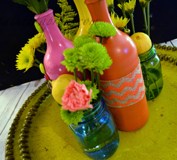 painted bottles with fruit and flowers thepaintedapron.com