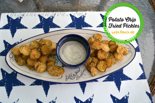 Potato chip fried pickles with ranch dressing 1 thepaintedapron.com