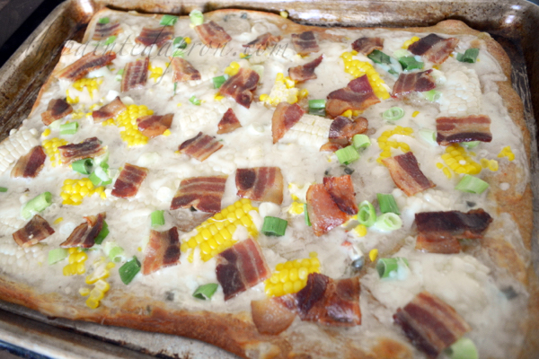 queso pizza with corn and bacon thepaintedapron.com