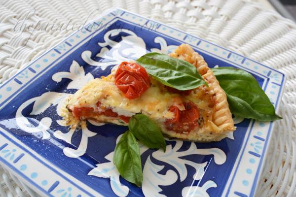 tomato basil ricotta pie thepaintedapron.com