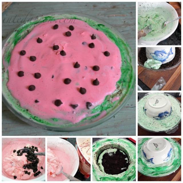 watermelon icecream pie thepaintedapron