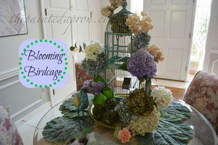 Blooming Hydrangea Birdcage thepaintedapron.com