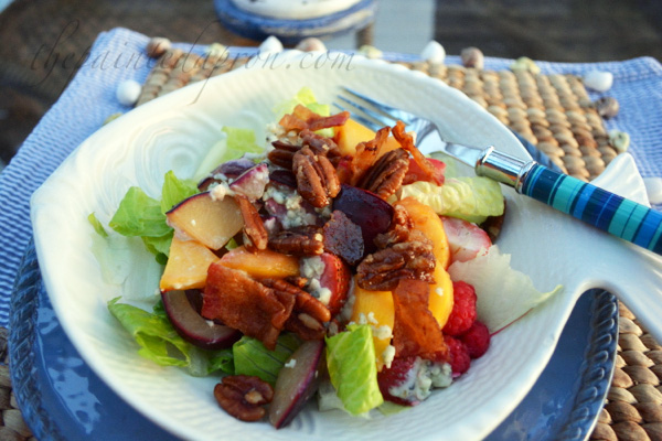 peach and plum salad with pecans and bacon thepaintedapron.com