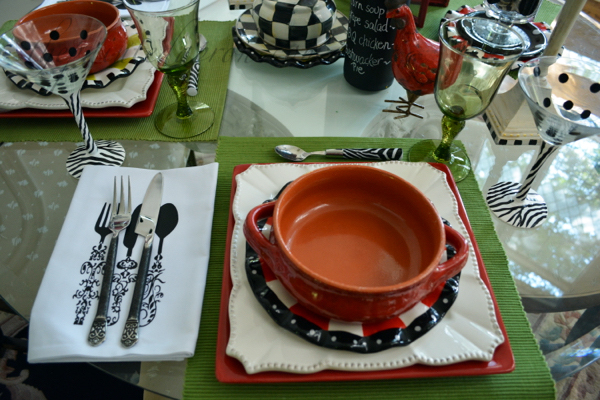 red white and black place setting thepaintedapron.com