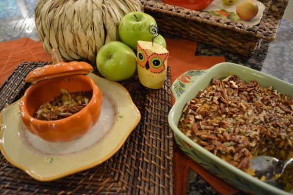 pumpkin oatmeal with pecans thepaintedapron.com