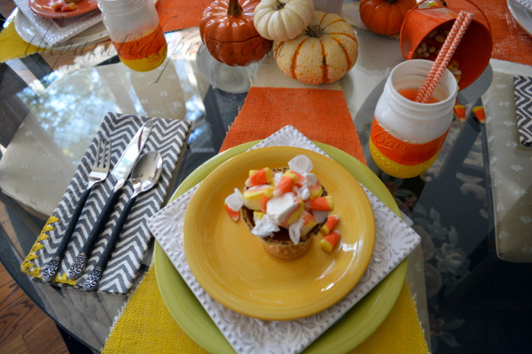 candy corn party place setting thepaintedapron.com