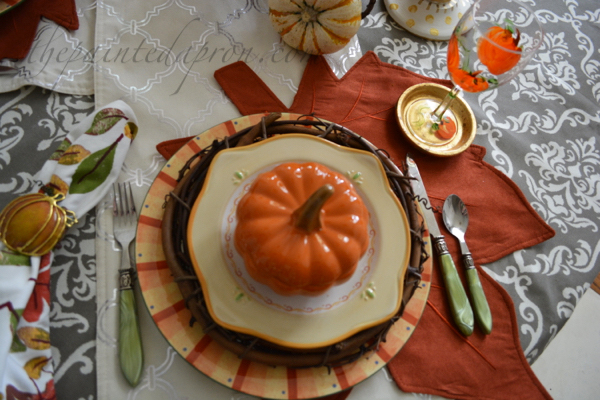 pumpkin and leaves place setting 2 thepaintedapron.com