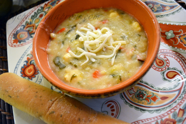 vegetable beer cheese chowder thepaintedapron.com