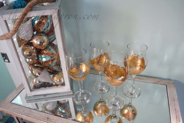 gold leaf and dot goblets