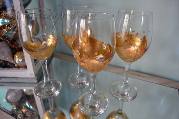 gold leaf glasses with dot trim