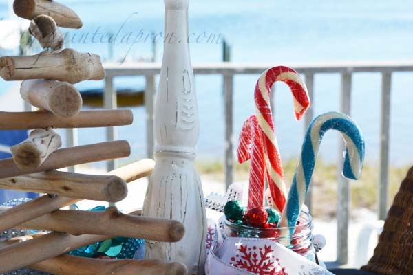 seaside Santa with candy canes